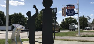 Illinois Route 66 Scenic Byway Interpretive Statue and Wayside Panel